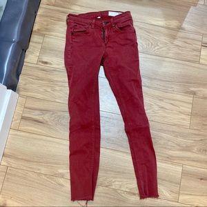 Rag & bone red brick skinny jeans raw hem